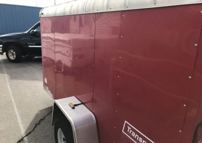 Red trailer side view