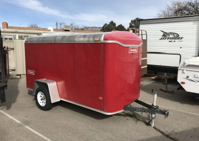 Full view of red trailer